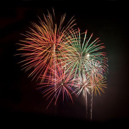 검은 밤 하늘 광장에 대한 여러 가지 빛깔의 불꽃 놀이