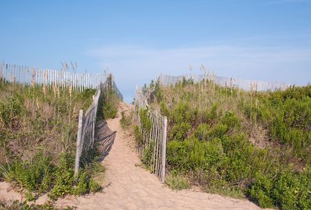 Walkway over sand dunes to a beach in Kitty Hawk, North Carolina, USA photo