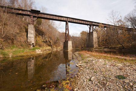 Abandoned railroad bridge over a creek