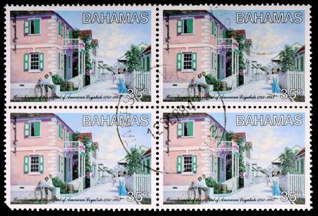 residents: BAHAMAS - CIRCA 1984: Four 35-cent stamps printed in the Bahamas shows residents and the town of New Plymouth Hold to commemorate the bicentennial of the arrival of American loyalists 1783-1983, circa 1984 Editorial
