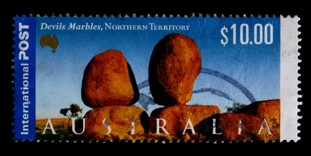 A $10.00 stamp printed in Australia shows the Devils Marbles, Northern Territory, circa 2000