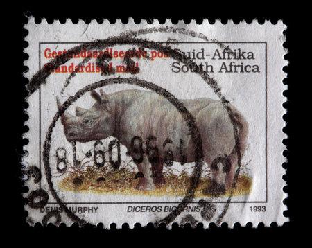 A stamp printed in South Africa shows a black rhinoceros, Diceros bicornis, circa 1993