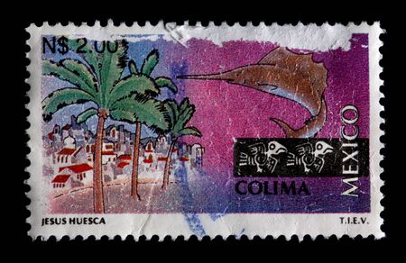 MEXICO - CIRCA 1997: A $2.00 stamp printed in Mexico shows palm trees, buildings and a sailfish associated with the state and city of Colima, Mexico,circa 1997