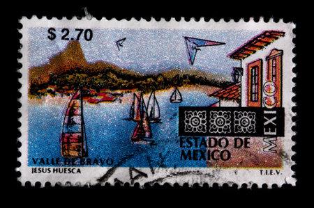 philately: MEXICO - CIRCA 1997: A $2.70 stamp printed in Mexico shows sailboats and buildings at the resort town of Valle de Bravo in the Estado de Mexico,circa 1997 Editorial