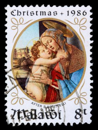 말라위 -1986 년경 : 말라위 인쇄 8-tambala 크리스마스 스탬프 1986 년경 S Botticelli 후 마돈나와 아이 보여줍니다