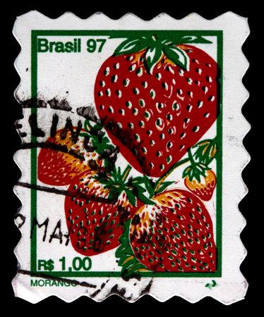 BRAZIL - CIRCA 1997: A 1-real stamp printed in Brazil shows several strawberries (morango), circa 1997