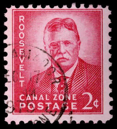 CANAL ZONE, PANAMA - CIRCA 1975: A 2-cent stamp printed in the Canal Zone, Isthmus of Panama, shows Theodore Roosevelt, circa 1975
