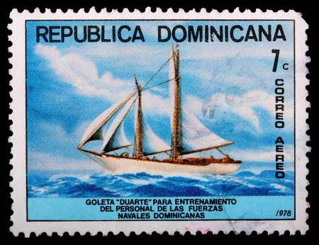 schooner: DOMINICAN REPUBLIC - CIRCA 1978: A 7-centavo air mail stamp printed in the Dominican Republic shows the schooner Duarte that is used for training personnel of the Dominican naval forces, circa 1978
