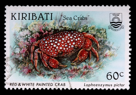 KIRIBATI - CIRCA 1996: A 60-cent stamp printed in the Republic of Kiribati shows the red and white painted sea crab, Lophozozymus pictor, circa 1996