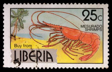 LIBERIA - CIRCA 1981: A 25-cent stamp printed in Liberia shows mesurado shrimps to encourage Liberian products, circa 1981