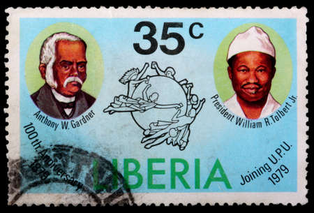 upu: LIBERIA - CIRCA 1979: A 35-cent stamp printed in Liberia shows past presidents Anthony W Gardner and William R Tolbert Jr to celebrate the 100th anniversary of joining the Universal Postal Union, circa 1979