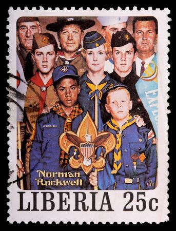 postmark: LIBERIA - CIRCA 1979: A 25-cent stamp printed in Liberia shows a Norman Rockwell painting of diverse people representing the Boy Scouts of America, circa 1979 Editorial