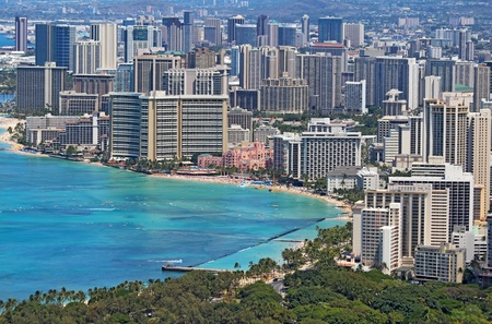Close-up skyline of Honolulu, Hawaii showing the hotels and buildings on Waikiki Beach