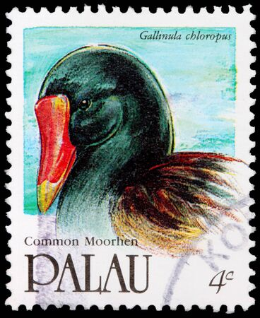 PALAU - CIRCA 1991: A 4-cent stamp printed in the Republic of Palau shows the common moorhen, Gallinula chloropus, circa 1991