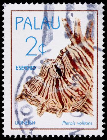 volitans: PALAU - CIRCA 1995: A 2-cent stamp printed in the Republic of Palau shows the lionfish, Pterois volitans, circa 1995