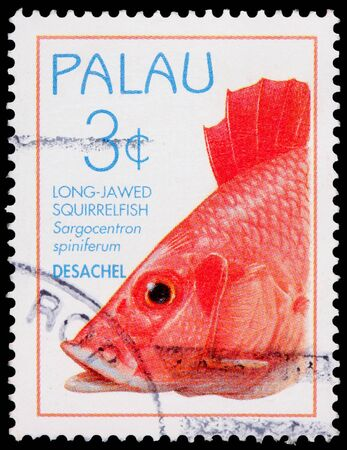 franked: PALAU - CIRCA 1995: A 3-cent stamp printed in the Republic of Palau shows the long-jawed squirrelfish, Sargocentron spiniferum, circa 1995 Editorial
