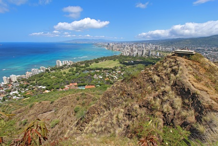diamond head: Wide-angle view of the rim of Diamondhead Crater, Waikiki Beach and all of Honolulu in the distance from the top of the trail