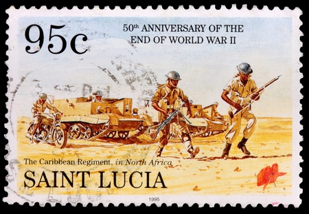 franked: SAINT LUCIA - CIRCA 1995: A 95-cent stamp printed in the island nation of Saint Lucia shows soldiers and armored vehicles of the Caribbean regiment in north Africa to commemorate the 50th anniversary of the end of World War II, circa 1995 Editorial