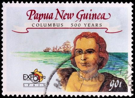 PAPUA NEW GUINEA - CIRCA 1992: A 90-toea stamp printed in the Independent State of Papua New Guinea shows three small ships and Christopher Columbus to celebrate 500 years after his discovery of the New World for Spain, circa 1992