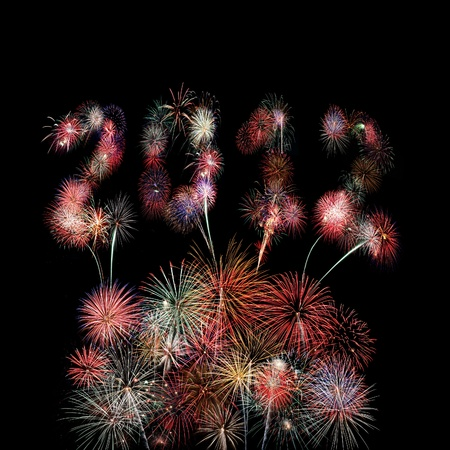 The year 2012 written in fireworks over a pyrotechnic display in a square frame photo