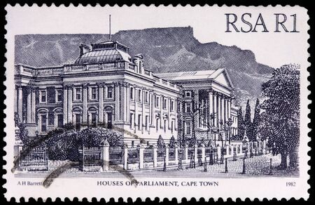 SOUTH AFRICA - CIRCA 1982: A 1-rand stamp printed in the Republic of South Africa shows the Houses of Parliament in Cape Town, circa 1982