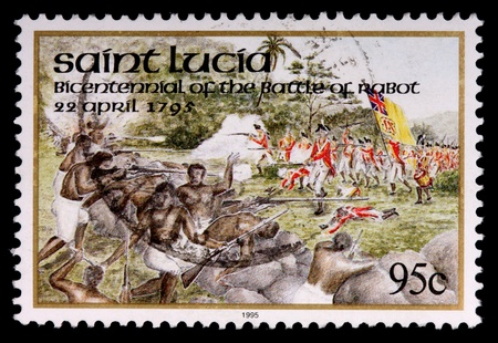 islanders: SAINT LUCIA - CIRCA 1995: A 95-cent stamp printed in the island nation of Saint Lucia shows islanders and British redcoat soldiers to commemorate the bicentennial anniversary of the battle of Rabot on 22 April 1795, circa 1995 Editorial