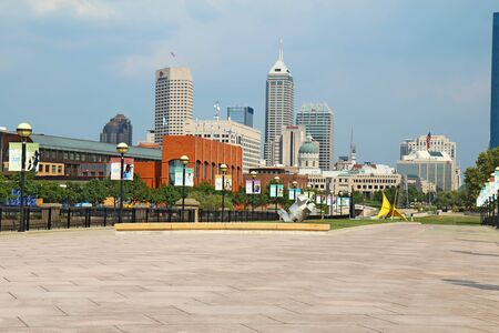 Indianapolis - September 3: View of the skyline and buildings in downtown Indianapolis, Indiana, on September 3, 2011. The city will be the host for Super Bowl XLVI on February 5, 2012.