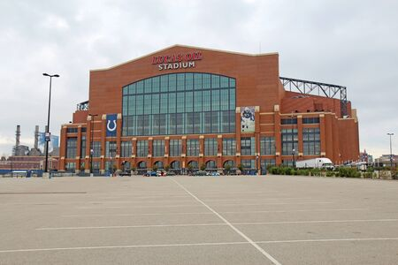 Indianapolis - September 24: View of the entrance to Lucas Oil Stadium in Indianapolis, Indiana, on September 24, 2011. The stadium will be the venue for Super Bowl XLVI on February 5, 2012.