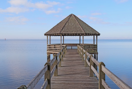 north carolina: Public gazebo and dock over Whale Head Bay off of Currituck Sound on the Outer Banks near Corolla, North Carolina