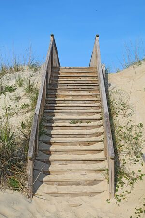 Stairway to a public beach access in Nags Head on the Outer Banks of North Carolina vertical