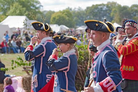 lafayette: WEST LAFAYETTE, INDIANA - OCTOBER 3: Fifers and drummers march in a parade at the Feast of the Hunter