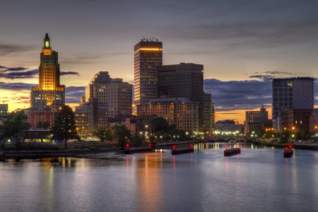 island: skyline of Providence, Rhode Island Stock Photo