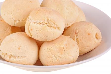 Closeup of several rolls of pan de yuca, the cheese bread made of tapioca  or yuca  flour that is very popular in Ecuador, also known as pandebono in Colombia or pao de queijo in Brazil 版權商用圖片