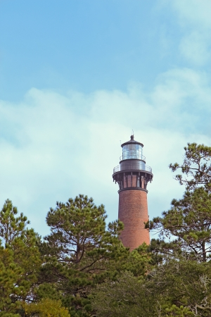 The red brick structure of the Currituck Beach Lighthouse rises over pine trees at Currituck Heritage Park near Corolla, North Carolina photo