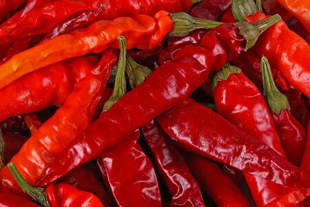 Macro image of dried red hot cayenne chili peppers completely filling the frame Stock Photo - 18304642
