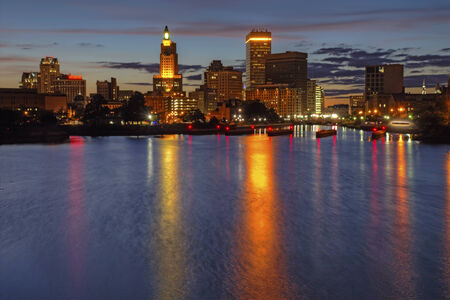 ri: HDR image of the skyline of Providence, Rhode Island from the far side of the Providence River just after dark