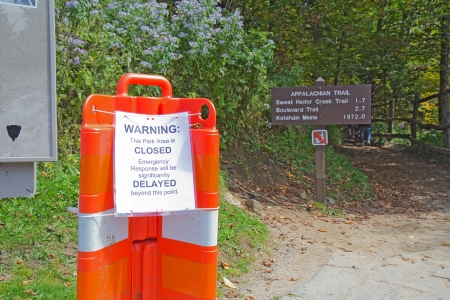 appalachian trail sign: GATLINBURG, TENNESSEE - OCTOBER 5: The US Government shutdown closes the Appalachian Trail in Great Smoky Mountains National Park near Gatlinburg, Tennessee on October 5, 2013.
