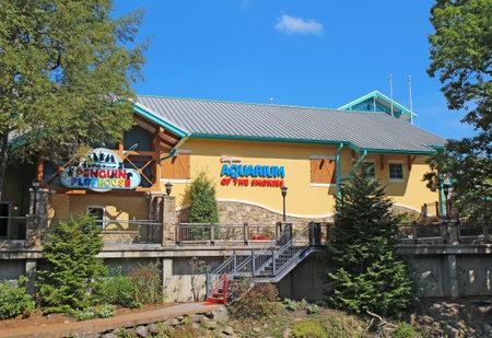 smokies: Gatlinburg, Tennessee - 06 de octubre: El Acuario de las Monta�as Humeantes en Gatlinburg, Tennessee, 6 de octubre de 2013. Gatlinburg es un importante destino tur�stico y puerta de entrada al parque nacional de las monta�as ahumadas.