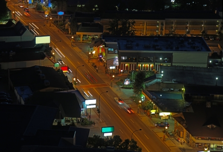 Downtown Gatlinburg, Tennessee viewed from above at night photo