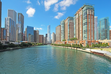 The city skyline along the Chicago River in Chicago, Illinois against a bright blue sky with white clouds photo