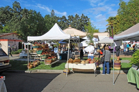 Buyers and vendors at the Saturday morning Calistoga Farmers Market  Historic Calistoga is a popular tourist stop at the north end of Napa Valley wine country