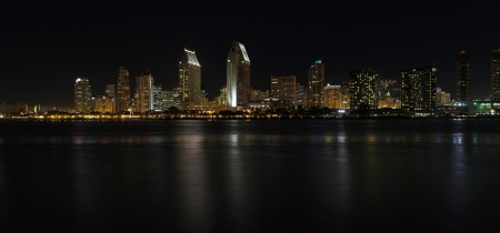 Panoramic view of the skyline of San Diego from the water at night