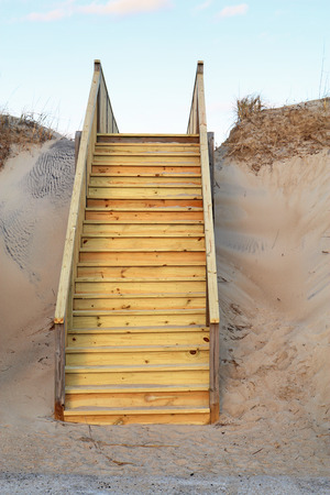outer banks: New stairway to a public beach in Nags Head on the Outer Banks of North Carolina vertical