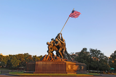 corps: ARLINGTON, VIRGINIA - JULY 25 2014: The Marine Corps War memorial in Arlington, Virginia. This monument, also called the Iwo Jima Memorial, was built in 1951 to honor Marine war casualties since 1775. Editorial