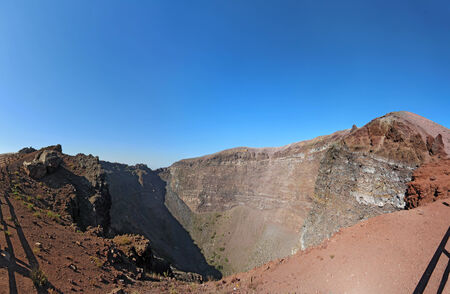 Panorama of the crater of Mount Vesuvius, the active volcano near Naples that wiped out the ancient city of Pompeii, Italy photo