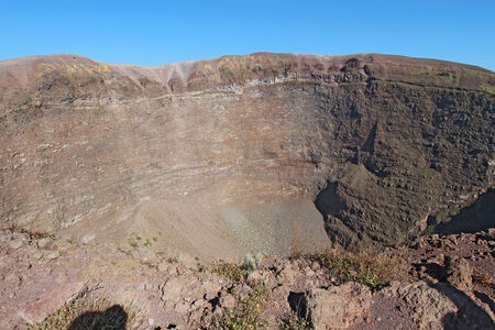 Wide-angle view of the crater of Mount Vesuvius, the active volcano near Naples that destroyed the ancient city of Pompeii, Italy photo