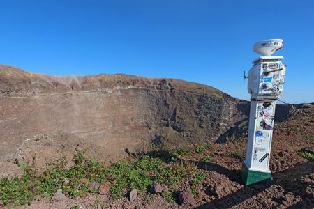 Weather station on the edge of the crater at Mount Vesuvius, the active volcano near Naples that destroyed the ancient city of Pompeii, Italy photo