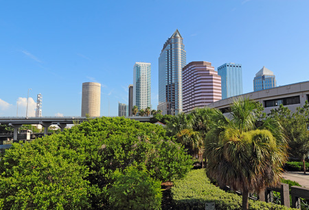 Partial Tampa, Florida skyline with Riverwalk Park and commercial buildings