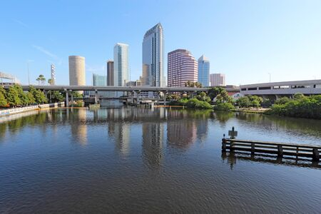 Partial Tampa, Florida skyline with USF Park and commercial buildings Stock Photo
