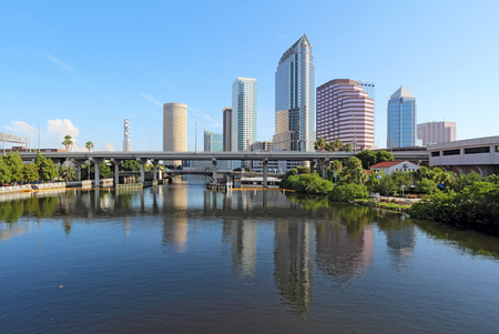 Partial Tampa, Florida skyline with USF Park and commercial buildings Banco de Imagens